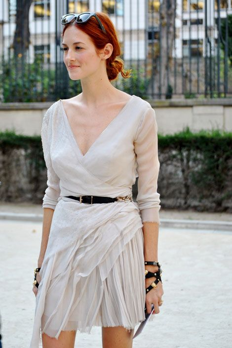 Taylor Tomasi Hill, Paris Fashion Week. Want this dress. And her hair color