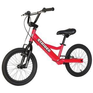 """Strider 16"""" Sport (красный)  — 18200р. ------------------------- Беговел Strider 16"""" Sport (красный) оптимален для тех, кто только учится кататься на велосипеде, для детей с особыми потребностями и для райдеров, совершенствующих свое мастерство в экстремальном катании на беговеле. Максимальную безопасность обеспечивают 2 ручных тормоза на каждое колесо - """"V""""-Brake. Руль имеет низкий вынос, который регулируется по высоте и углу наклона. Дополнительная перекладина руля и двойное соединение…"""