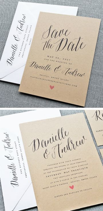 NEW Danielle Calligraphy Script Recycled Kraft Save the Date and Wedding Invitation with Pink Heart