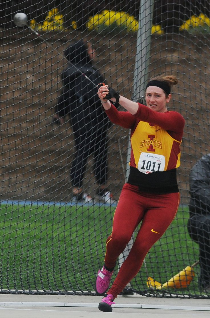 Iowa State's Arianna Kuhn finished 11th in the university women's hammer throw at the Drake Relays on Saturday at Drake Stadium in Des Moines. Photo by Nirmalendu Majumdar/Ames Tribune http://www.amestrib.com/sports/20170429/track-and-field-luque-doubles-up-with-triple-jump-win