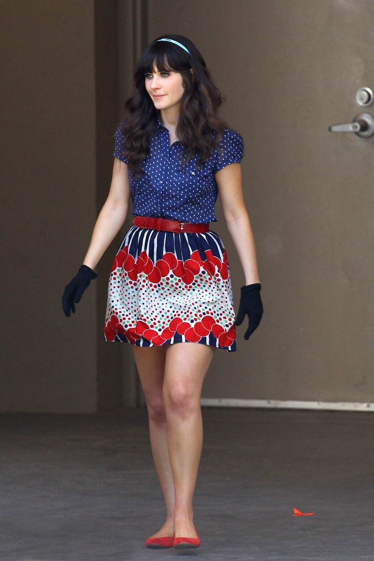 Blue and red outfit with gloves on Bells episode of New Girl- love her outfits, especially the dresses!