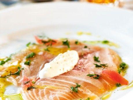Carpaccio of organic salmon with swedish mustard and fresh horseradish