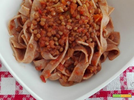 Tagliatelle integrali al ragù di lenticchie  #ricette #food #recipes