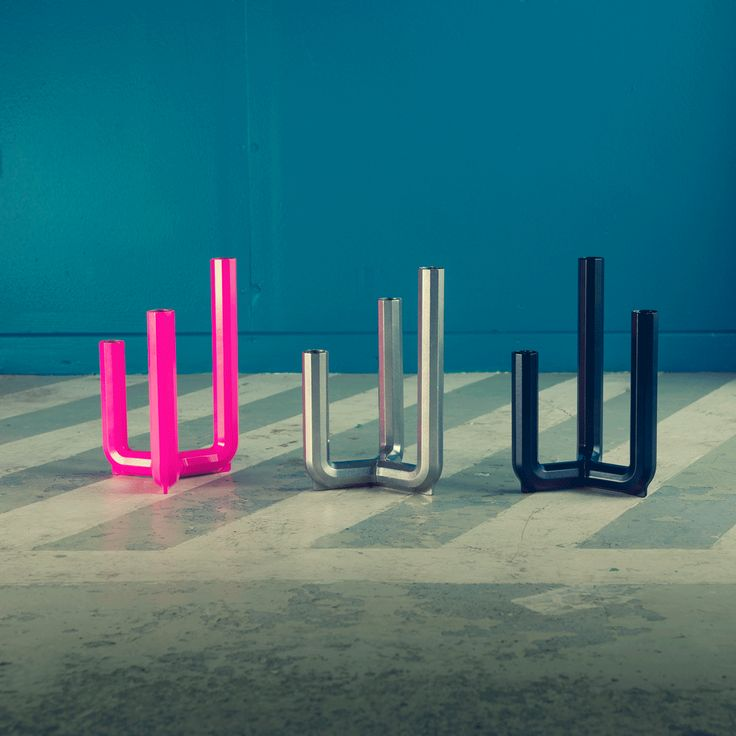 """LIGHT IT. Combine colours and heights with Candlestick for 3 candles. IKEA PS 2017 LIVE IT. """"My idea was to create a candlestick for three candles, but I didn't just want them in a row. I wanted to angle the candleholders and have the candles at different heights to create a three-dimensional shape and feel. The Allen key actually inspired the shape."""" — Designer Henrik Preutz #Liveit #IKEAPS2017 #IKEAcollections #IKEA"""