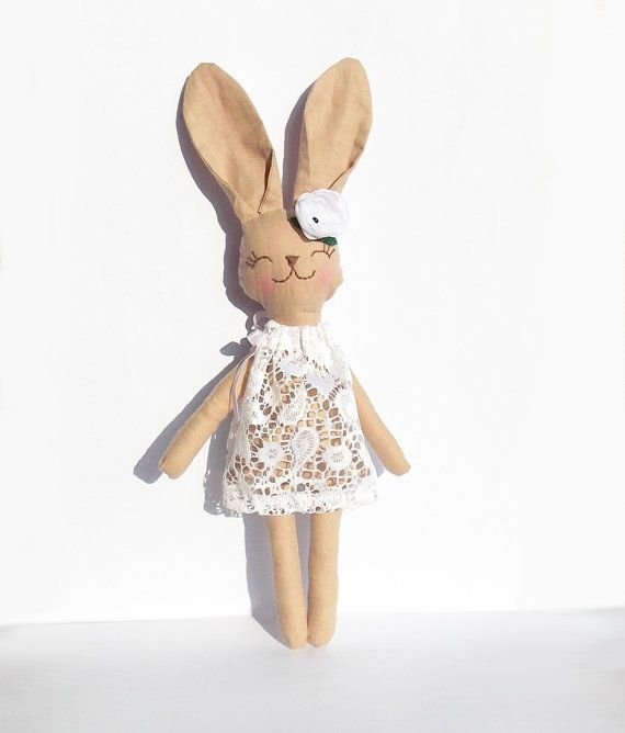 Animal doll kids toy Stuffed Bunny Rabbit doll by RedGirlDesign, $33.00
