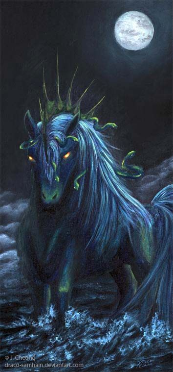 A kelpie is a horse like creature that will lure humans to sit on their back and…