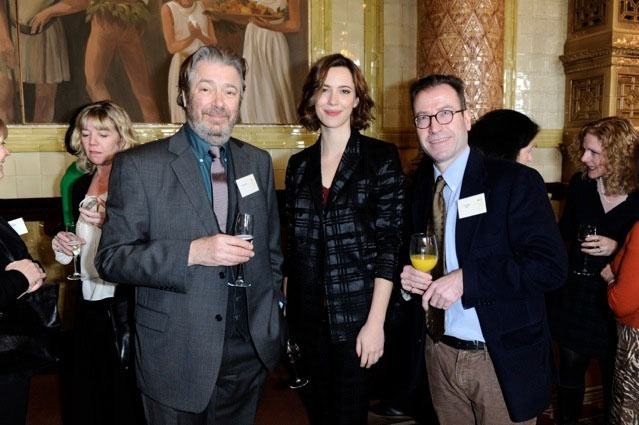 Roger at the Broadcasting Press Guild TV & Radio Awards 3/14/13. Don't know the other guy but that's Rebecca Hall from Parade's End.