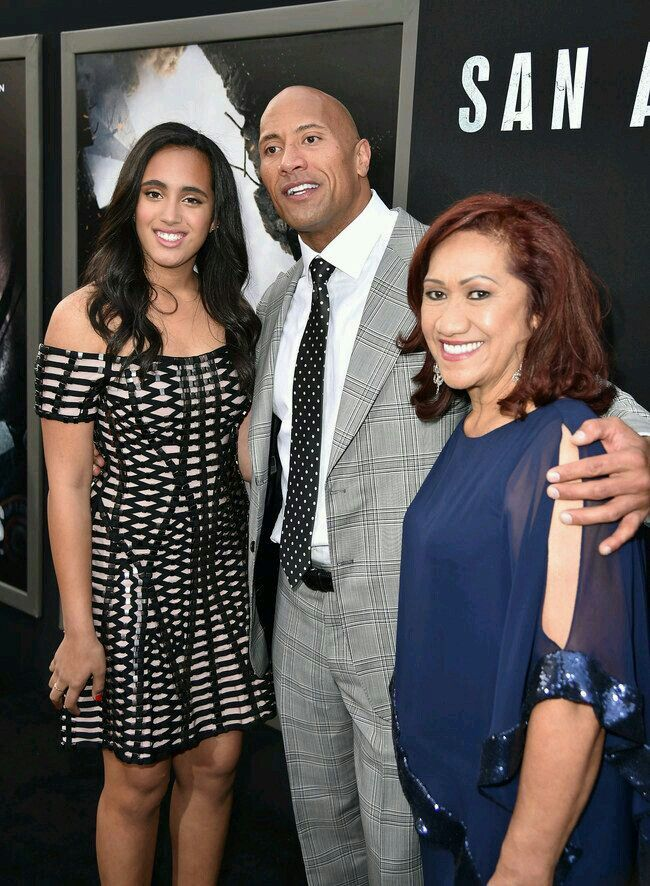 Dwayne Johnson with his daughter and Mother