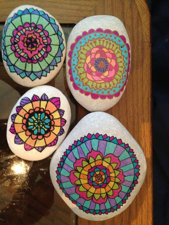 These stones have been painted and sealed with several layers. This allows them to be used as indoor or outdoor decoration. That being said, over time the color may diminish with frequent handling and/or harsh weather conditions. Mandala stones are perfect as garden or plant decorations, table accents, gifts, and more
