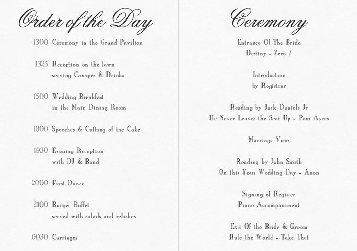 Civil Ceremony Order Of Service - Google Search
