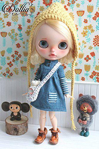 Amazon   (ドーリア)Dollia ブライス 1/6ドール用 アウトフィット レイヤード風 ワンピース アースブルー 切り替え ボーダー ネオブライス ドール 人形   おもちゃ 通販