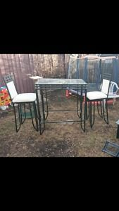 Pub height glass bar table with 2 tall chairs Calgary Alberta image 1
