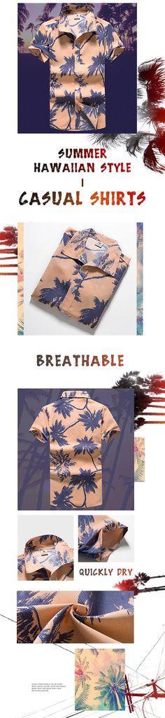 Casual Summer Hawaiian Style Printing Breathable Dress Shirts for Men
