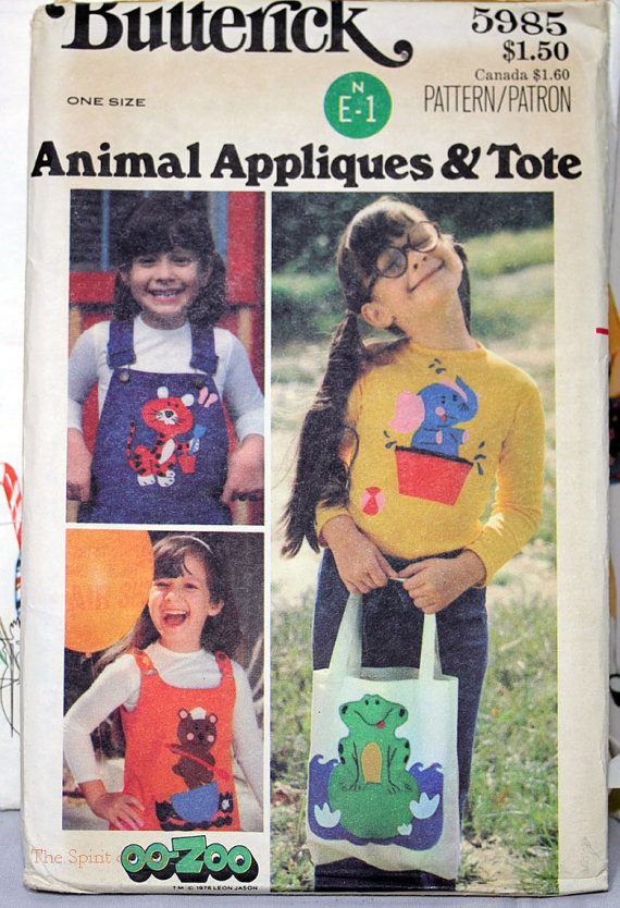 Uncut  Vintage 1970s 5985 Animal Appliques & by TheSpiritOfJoy