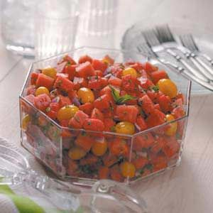 watermelon tomato salad      * 10 cups cubed seedless watermelon      * 2 pints yellow grape or pear tomatoes      * 1 medium red onion, chopped      * 1/2 cup minced fresh parsley      * 1/2 cup minced fresh basil      * 1/4 cup lime juice    Directions        * In a large bowl, combine the watermelon, tomatoes and onion. In a small bowl, combine the parsley, basil and lime juice. Pour over watermelon mixture and toss to coat. Refrigerate until serving. Yield: 16-18 servings.      Nutrition…