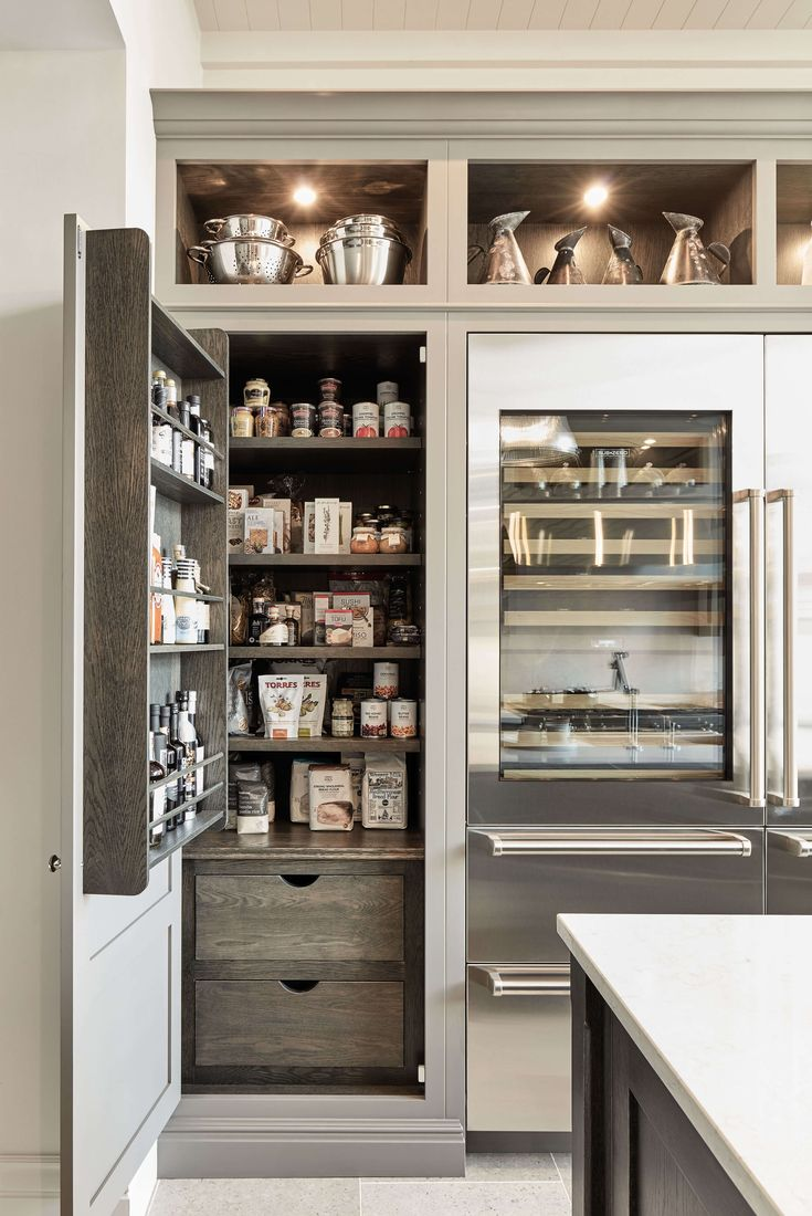 Tom Howley grey modern kitchen with pantry storage