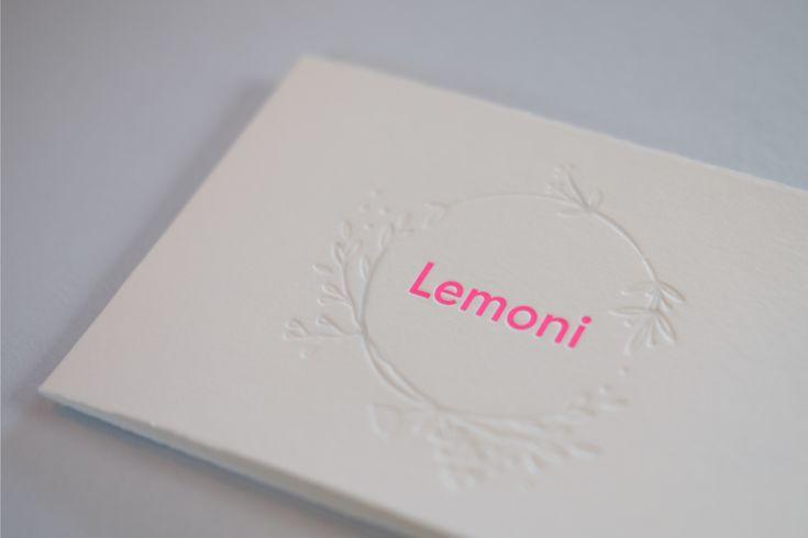 LEMONI birth announcement letterpress card with neon pink by studio sijm