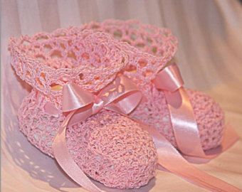Crochet baby ballerina slippers and headband set by LeftyStitches