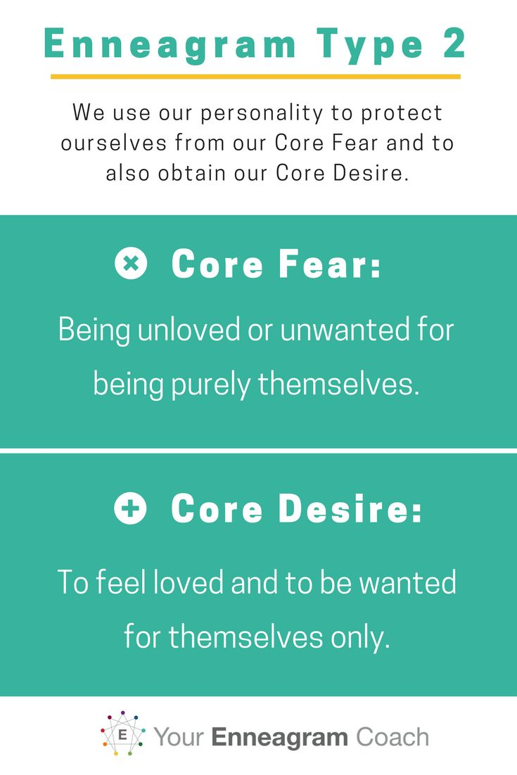 We use our personality to protect ourselves from our Core Fear and to also obtain our Core Desire. Enneagram Type 2 here are yours.  YourEnneagramCoach.com, Beth McCord