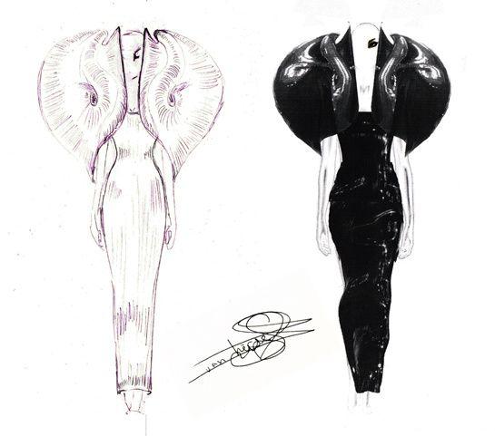Les croquis dIris Van Herpen pour Lady Gaga http://www.vogue.fr/mode/inspirations/diaporama/traits-de-genies-croquis-de-createurs-mode/12687/image/744325#les-croquis-d-039-iris-van-herpen-pour-lady-gaga