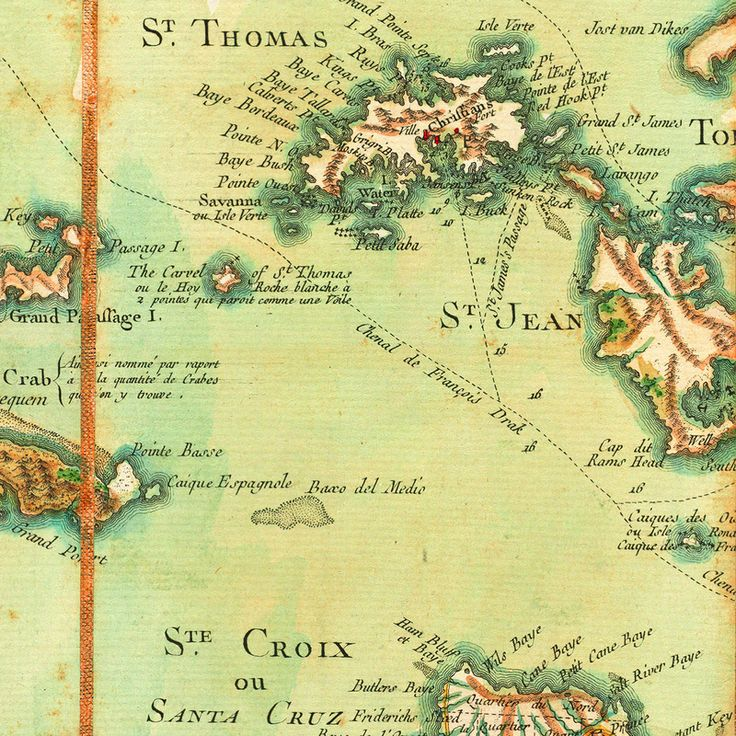 1779 Map Of The Virgin Islands By Le Rouge After Thomas Jefferys
