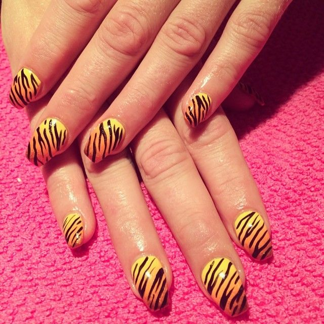 Tiger print realness from the other day!! ! By @cpplltti at @pinkysnailsTO #manicuremonday #nailart #nailporn #nailgasm #toronto