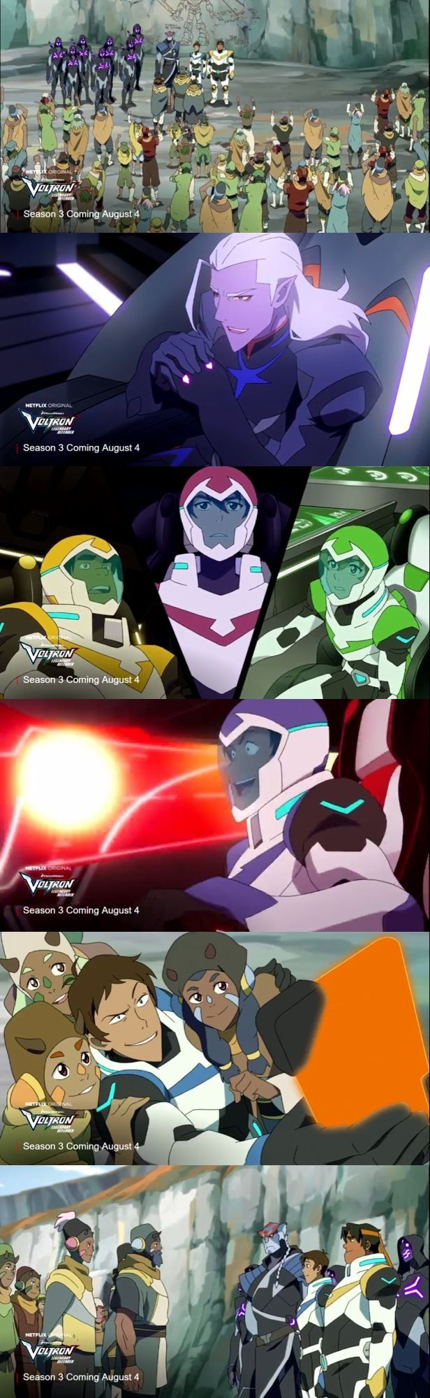 SEASON THREE TEASER TRAILER SO HERE IS A RUNDOWN LANCE PILOTS BLUE AND RED KEITH IN BLACK AND SHIRO POOF ALLURA AND CORAN NOT SHOWN MORE LANCE DEVELOPMENT LOTOR HAS POINTY CHIN AND HOT VOICE SIXTH LION(next pic posted) PIDGE&KEITH SHOWN FOR LIKE .01 SEC