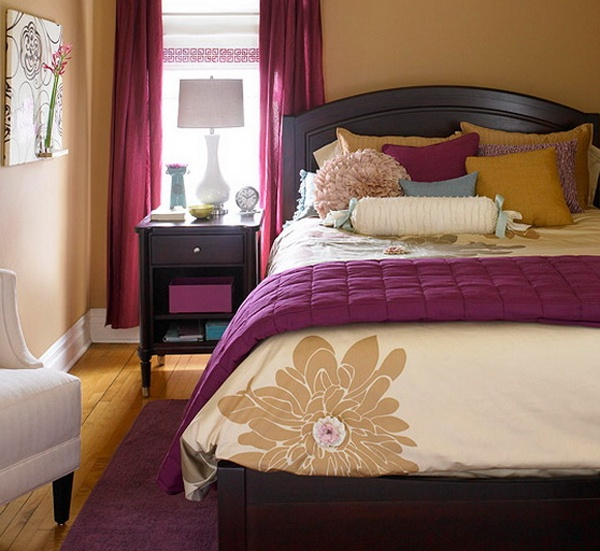 Purple and beige bedroom....