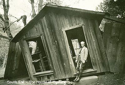 The Oregon Vortex and House of Mystery, located on Sardine Creek in Gold Hill, is one of Oregon's oldest and most original examples of Roadside Americana. Opened to tourists in 1930, the attraction is the earliest documented mystery spot or gravitational hill in the United States—a place where bubble levels, tape measures, yardsticks, balls that roll uphill, and plumb lines are used to demonstrate the phenomena.