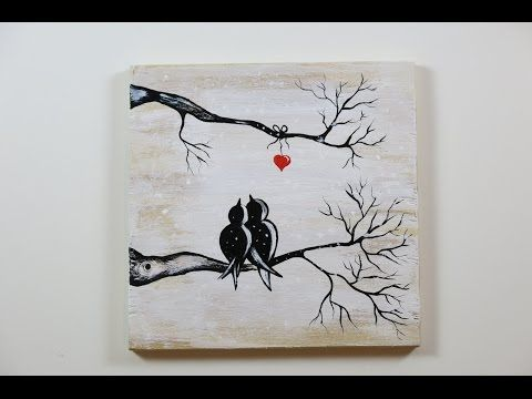DIY Winter View of Love Birds. How to  Paint on the Wood, Love Birds, Winter View. - YouTube