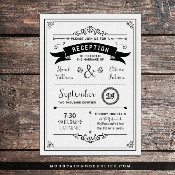 black-diy-reception-only-wedding-invitation-template-mountainmodernlife-com #vintageweddinginvitations
