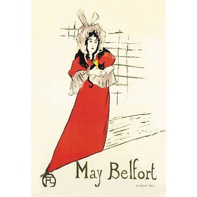 """Buyenlarge 'May Belfort (Irish Singer)' by Toulouse Lautrec Vintage Advertisement Size: 66"""" H x 44"""" W x 1.5"""" D"""
