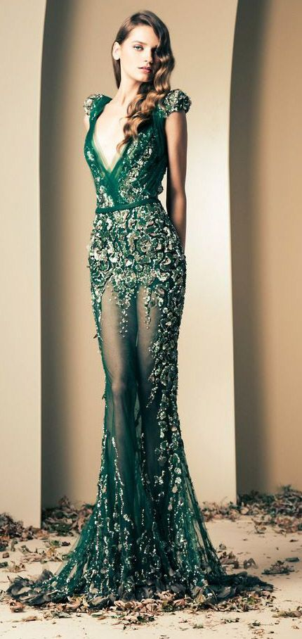 Ziad Nakad / love the emerald, beautiful style. http://www.wedding-dressuk.co.uk/prom-dresses-uk63_1