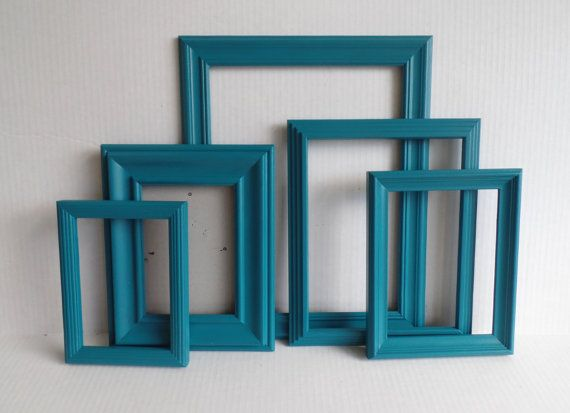 Teal Picture Frame Collection  Set Of Five by MollyMcShabby