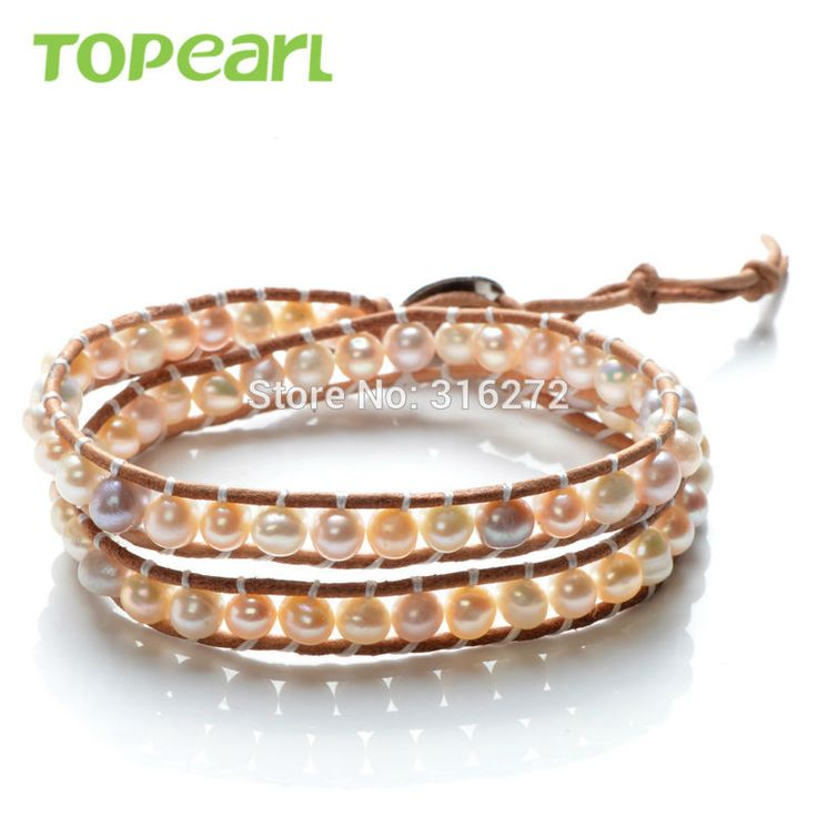 Topearl Jewelry 3pcs Freshwater Pearl Woven Leather Wrap Bracelets Women Pearl Jewelry CLL160