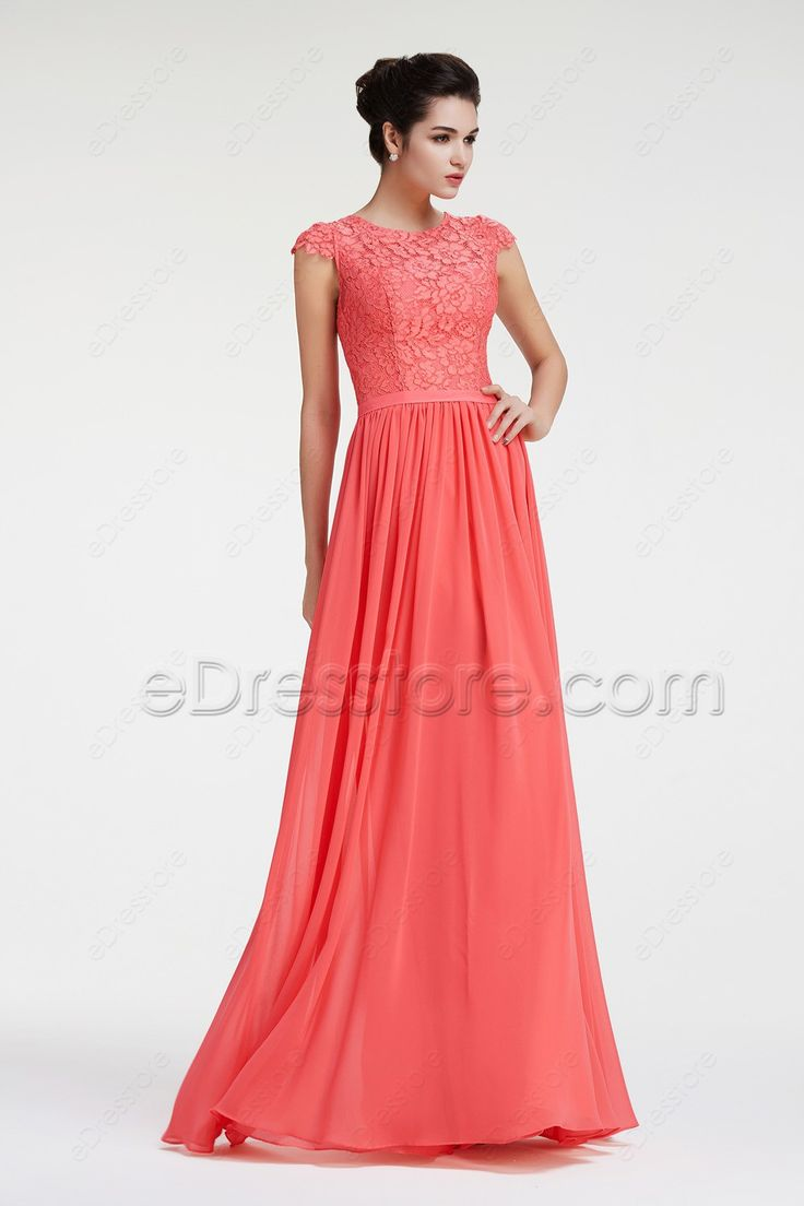 The coral bridesmaid dress is made of lace and chiffon fabric, top made in lace with modest high back and sleeves, scalloped cap sleeves, gathered chiffon skirt with floor length.