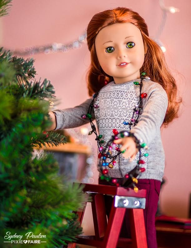 """Mini Christmas tree lights for dolls! Doll wearing a top from the Piccadilly Sweater and Skirt Bundle 18"""" Doll Clothes Pattern"""