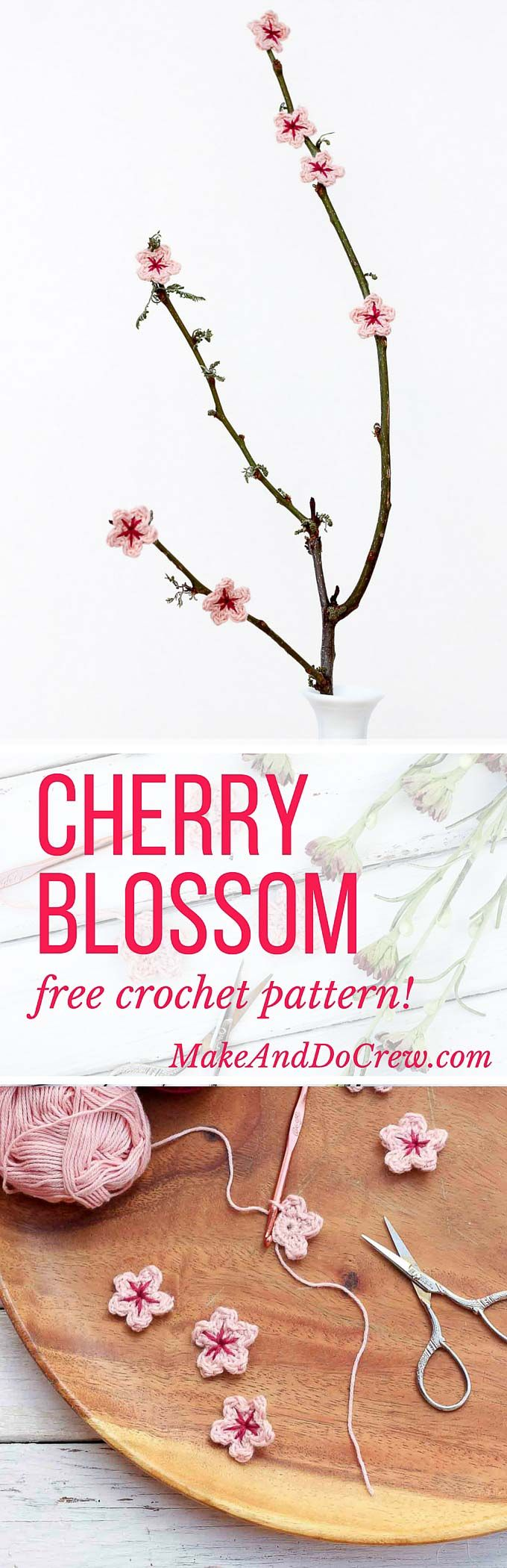 This free crochet flower pattern makes perfect little cherry blossoms, but can be customized to make a variety of flowers for home decor, headbands or even accents for other crocheted pieces. | MakeAndDoCrew.com ☂ᙓᖇᗴᔕᗩ ᖇᙓᔕ☂ᙓᘐᘎᓮ http://www.pinterest.com/teretegui