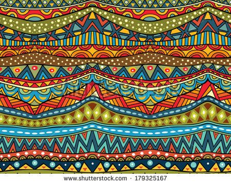 Seamless geometric ethnic pattern. Abstract African pattern in vivid colors. Fancy multicolored background ornament. Vector EPS8, all elements are grouped by colors.  - stock vector