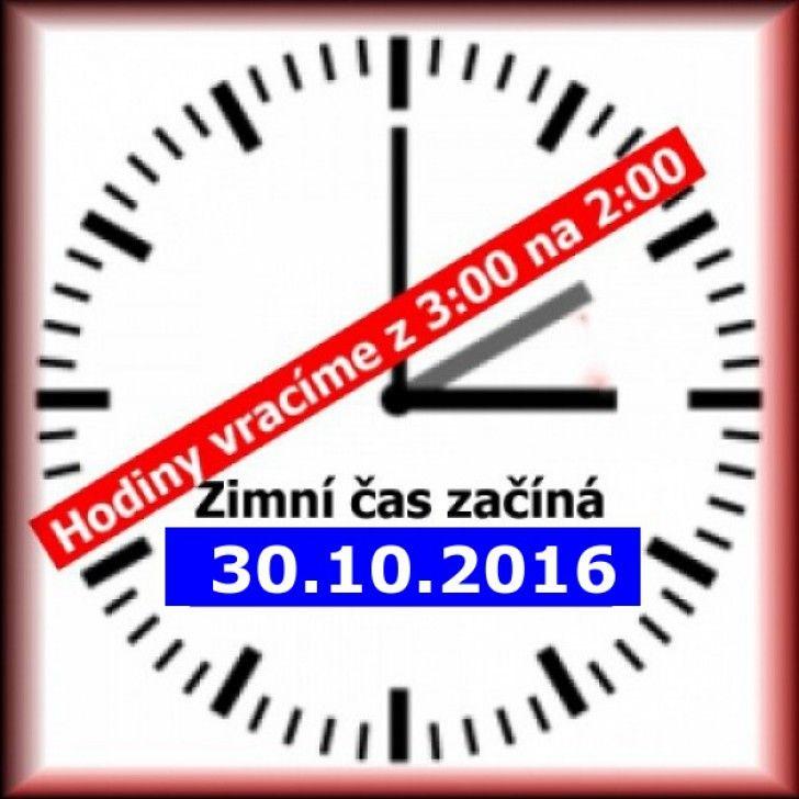 Ke změně času na zimní 2016 dojde V neděli 30. října 2016 03:00:00 ze 3:00 na 2:00 (ze soboty na ned...