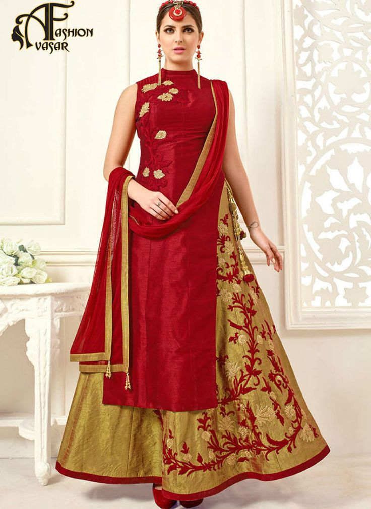 lehenga suit buy online – Achkan red Silk Salwar Suit online india