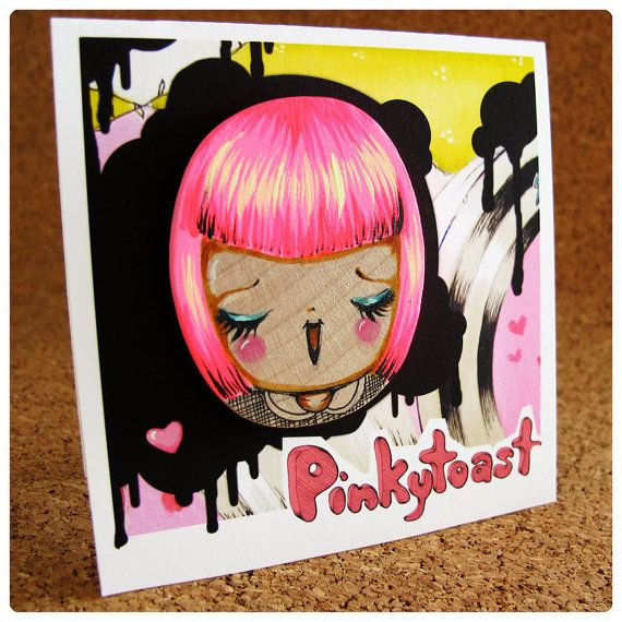 Wearable ArtHappy Hot Pink Girl in Peter Pan by pinkytoast on Etsy, $25.00