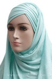 Jersey Hijab Asymmetrical Pleat-Mint