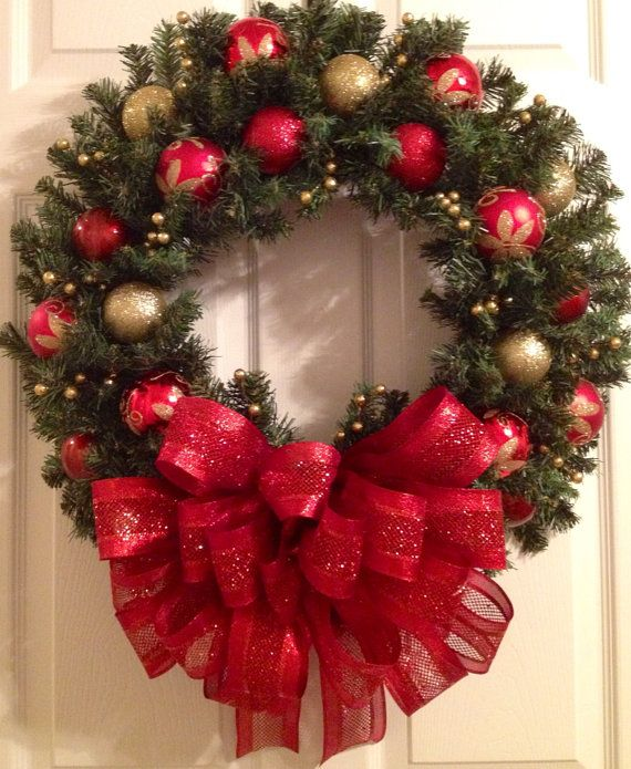 Red with gold Christmas wreath by Enywear on Etsy, $67.50