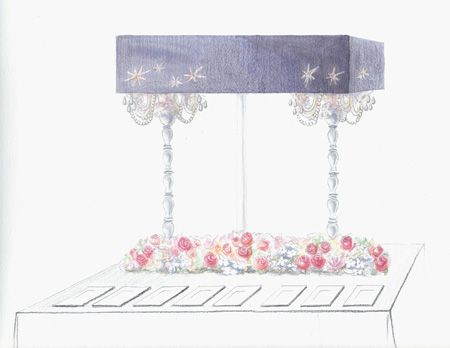 Brides: See an Event Designer's Sketches Come to Life: High-Drama Centerpiece