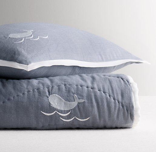 Embroidered Whale Toddler Quilt | Quilts & Coverlets | Restoration Hardware Baby & Child