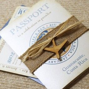 Vintage Journey of Love Passport Wedding Invitation (Guanacaste, Costa Rica)