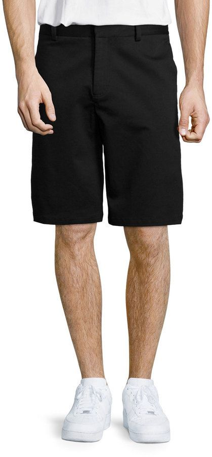 $275, Alexander Wang Stretch Cotton Skate Shorts Black. Sold by Neiman Marcus. Click for more info: https://lookastic.com/men/shop_items/332328/redirect