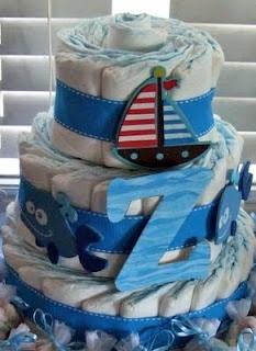 diaper cake: Shower Ideas, Nautical Diaper Cakes, Gifts Ideas, Baby Bargain, Baby Ideas, Nautical Diapers Cakes, Baby Shower Boys, Brooki Baby, Baby Crafts