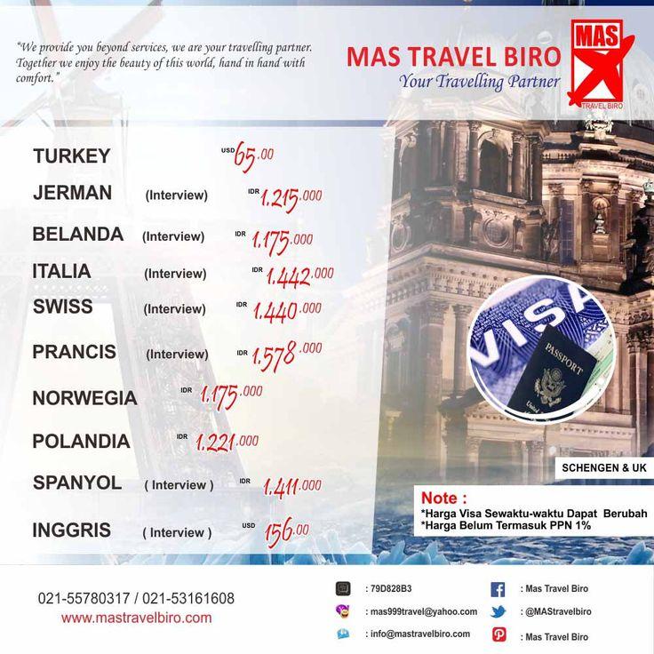 Ingin membuat Visa SCHENGEN & UK ? Mas Travel Biro dapat membantu teman teman travelers dalam pembuatan Visa. Info: 021-55780317 / 021-53161608